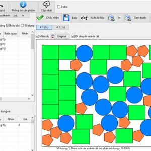 Hỉnh ảnh tính toán chia cắt của phần mềm Cutting Pro đa giác